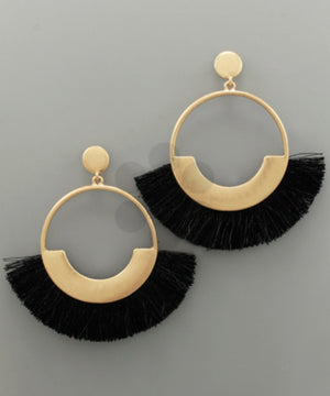 Fan Tassel & Circle Earrings