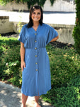 Denim Button Down Dress - Tallulah Rose Boutique
