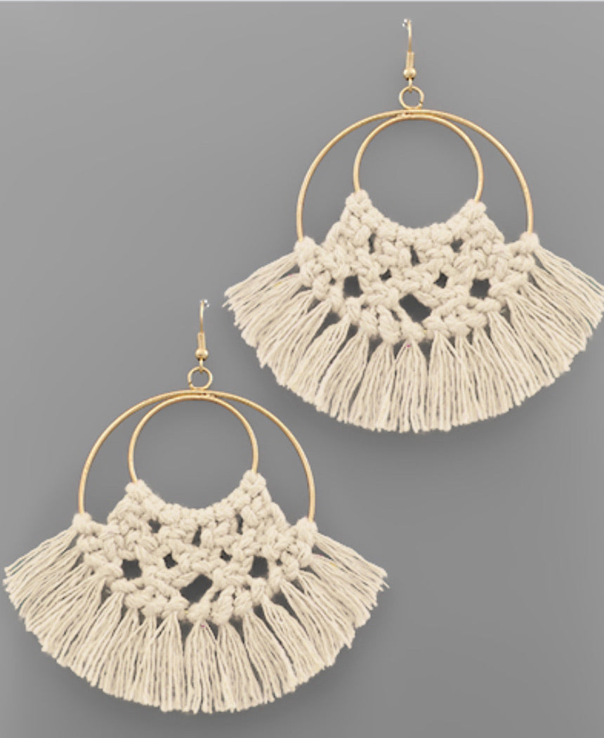 Ivory Thread Fringe Circle Earrings