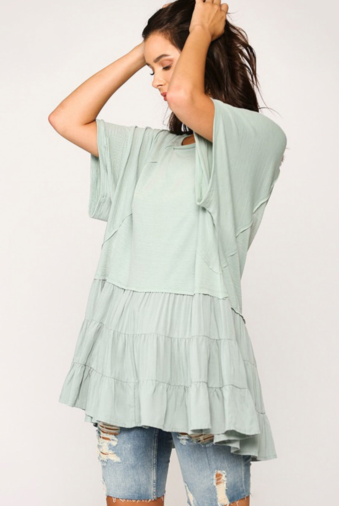 Dusty Sage Tiered Tunic Top