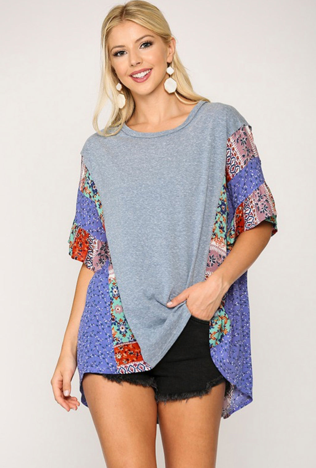 Light Denim High-Low Dolman Sleeve Top