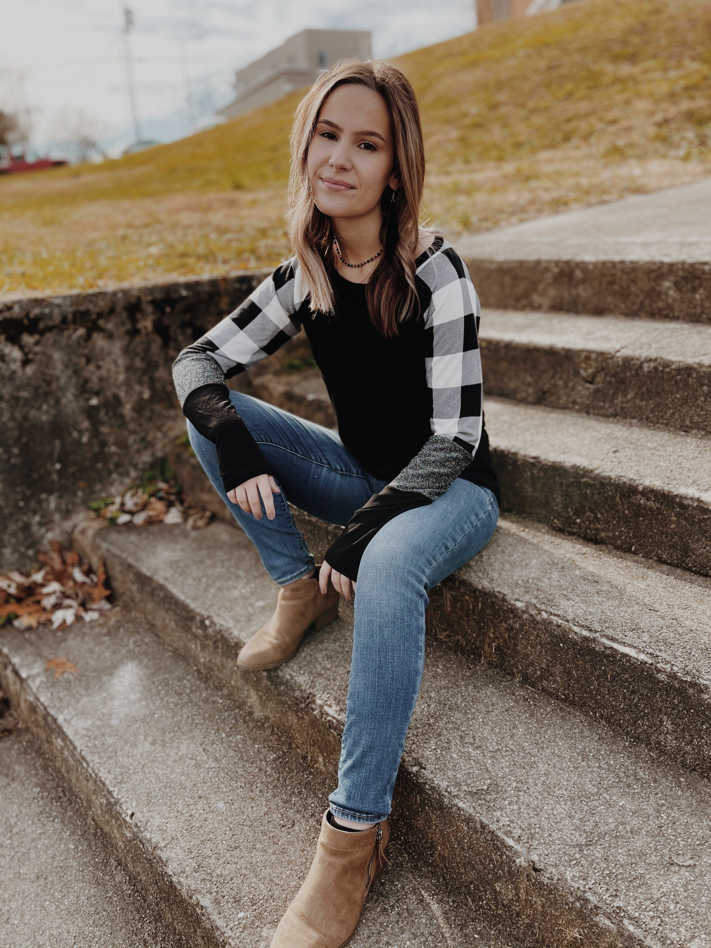 White/Black Buffalo Plaid Top