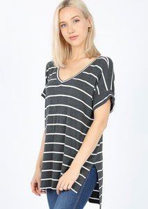 Charcoal Striped Short Sleeve Top
