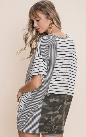 Army Camo and Stripe Top