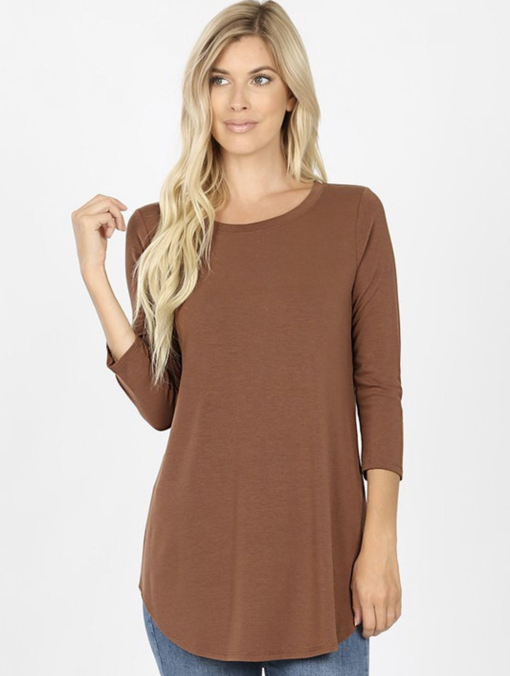 3/4 Sleeve Solid Top