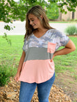 Blush Camo Color Block Top