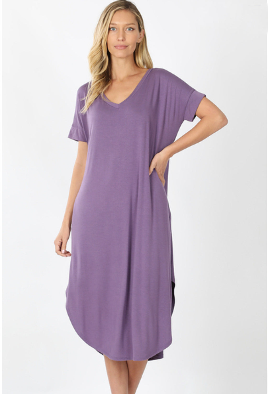 Solid V-Neck Round Hem Dress