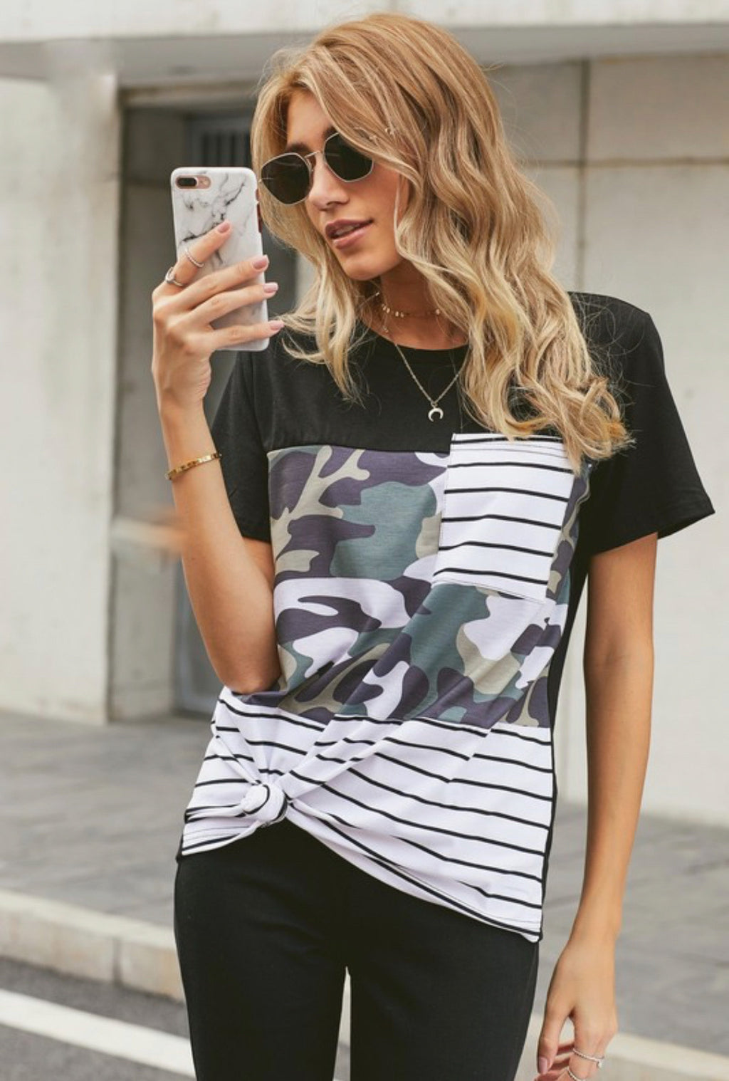 Camouflage/Stripe Pocket Top