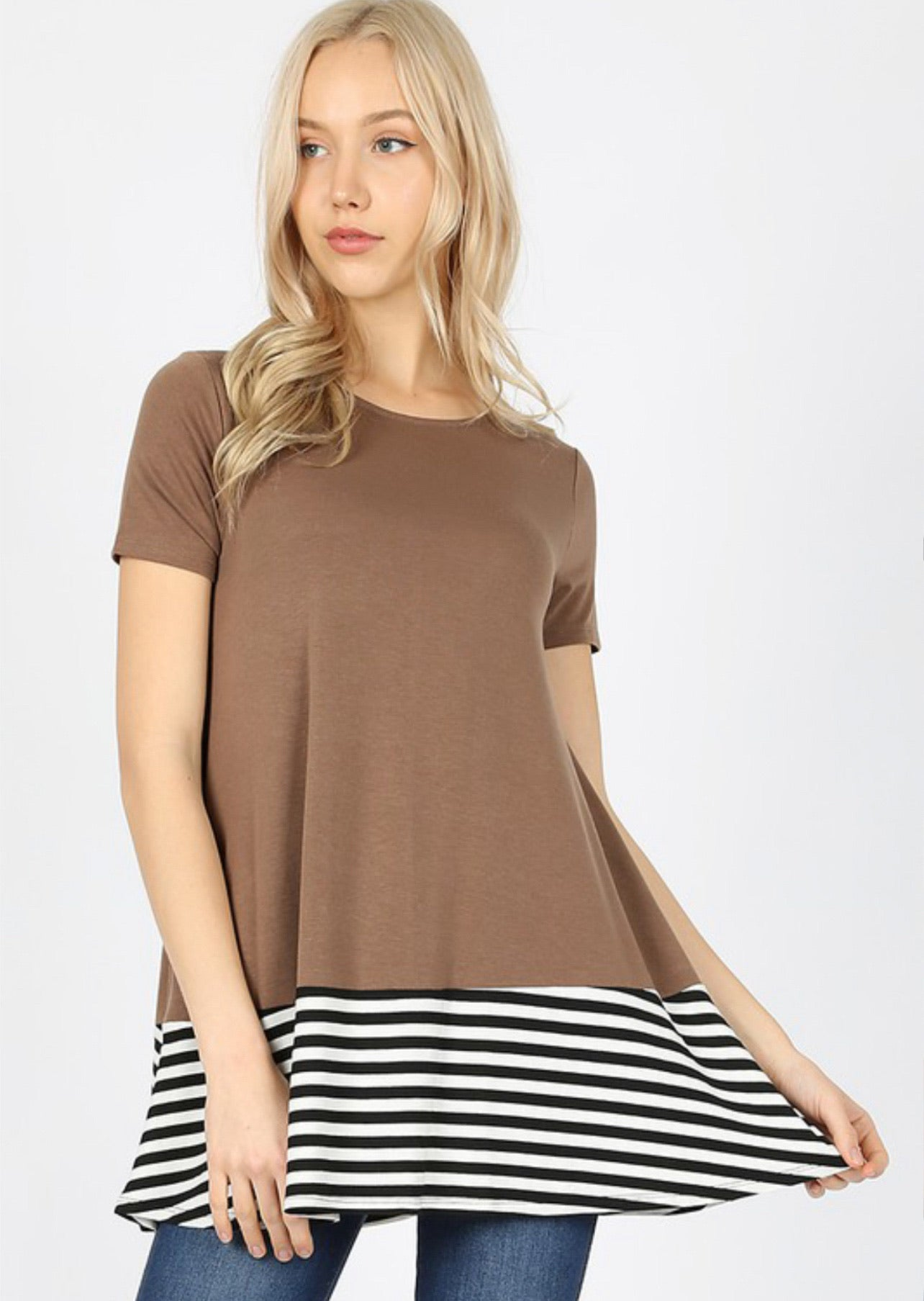Striped & Solid Short Sleeve Top