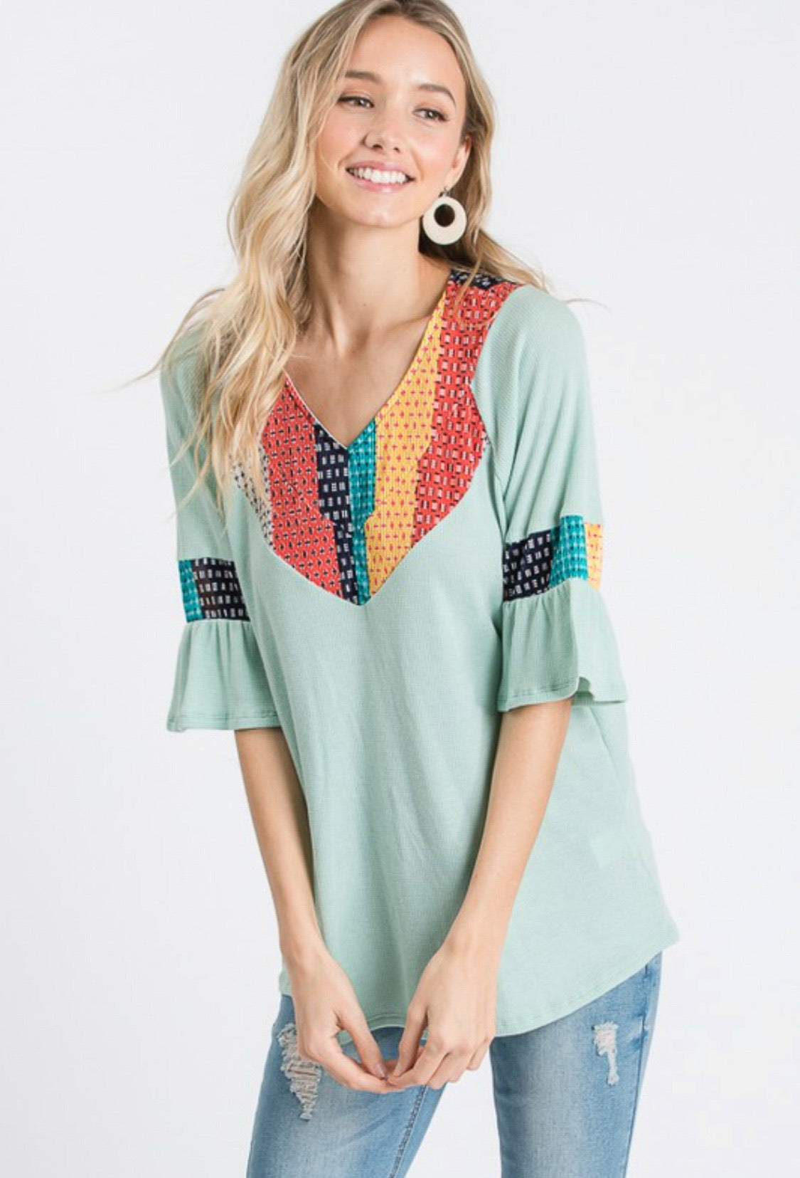 Half Sleeve Top with Contrast