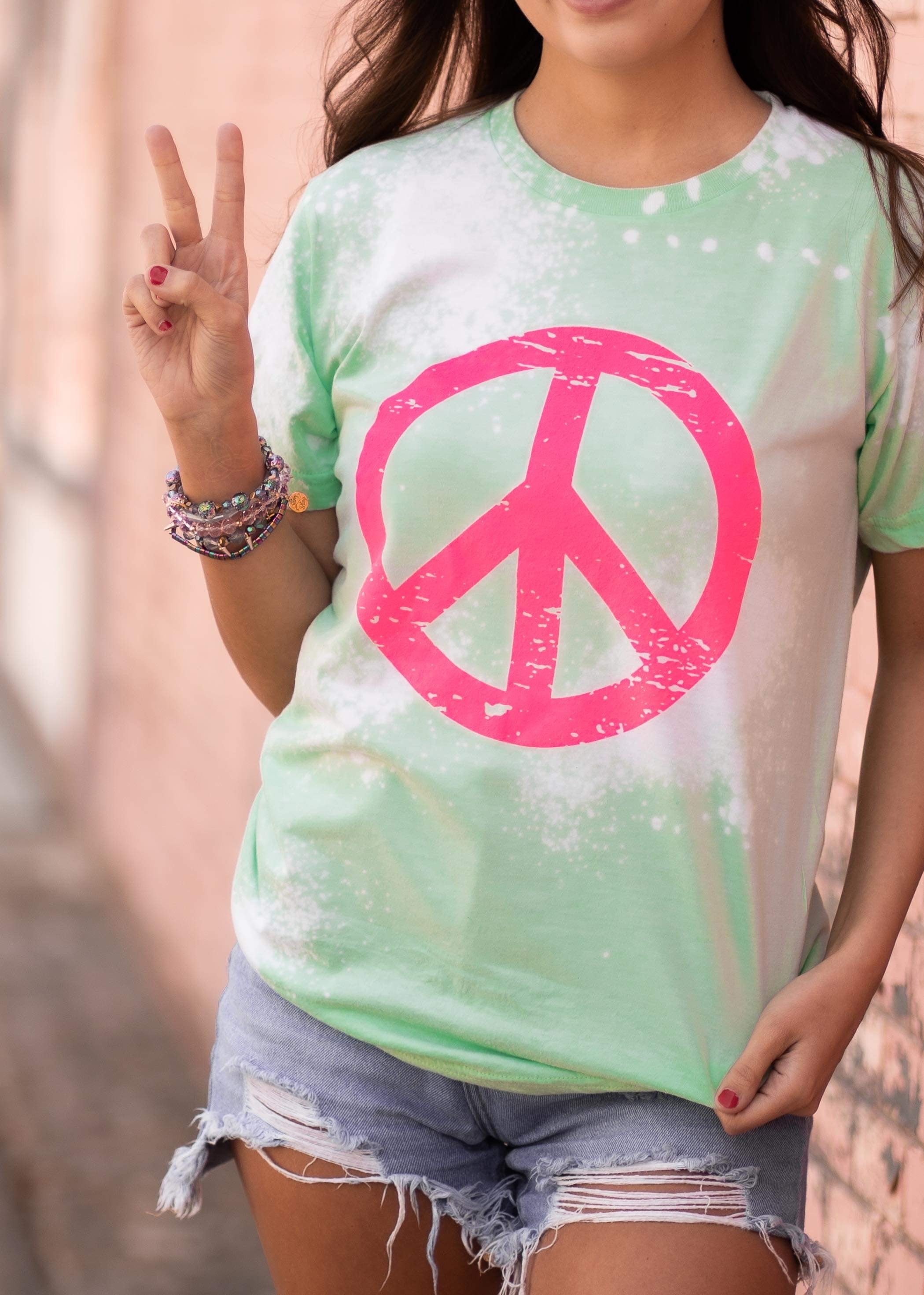 Bleached Peace Sign Tee