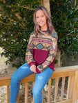 Burgundy Aztec Top