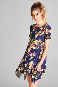 Navy Floral Tunic Top