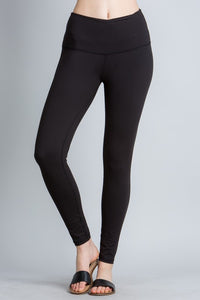 Black High Waist Yoga Band Leggings - Tallulah Rose Boutique