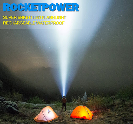 RocketPower Super Bright Rechargeable Waterproof LED Flashlight