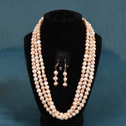 Pearl Strand Freshwater White/Pink 64 Inch Necklace & Earrings Set