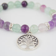 Amethyst and Fluorite Charm Bracelet with Tree of Life
