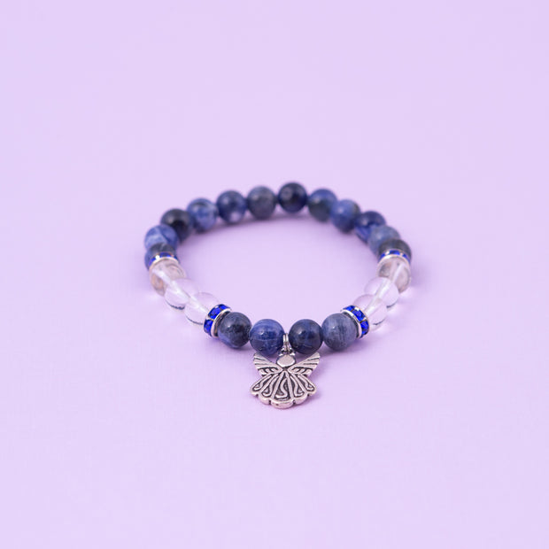 Sodalite and Quartz Angel Charm Bracelet