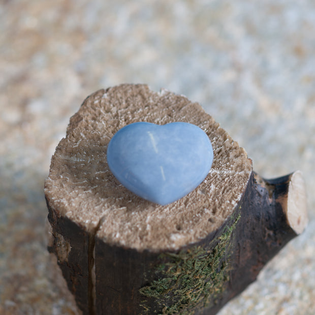 Angelite Heart 2.5 inch gemstone