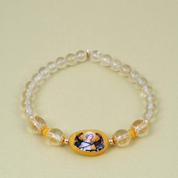 Archangel Jophiel Bracelet Citrine Yellow Jade - Gold Plated 18K