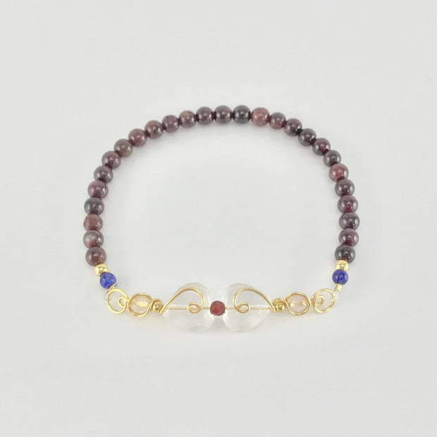 Aries Bracelet with Garnet and Rose Quartz
