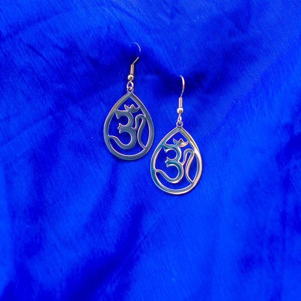 Aum Brass Teardrop Earrings