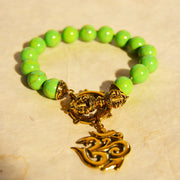 Apple Green Resin Bracelet with Om and Dorje Clasp