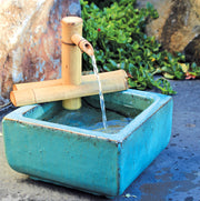 "Bamboo Water Fountain 7"" Adjustable with half-round base"