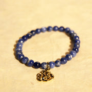 Sodalite with Alpaca Silver Om Charm, 6mm