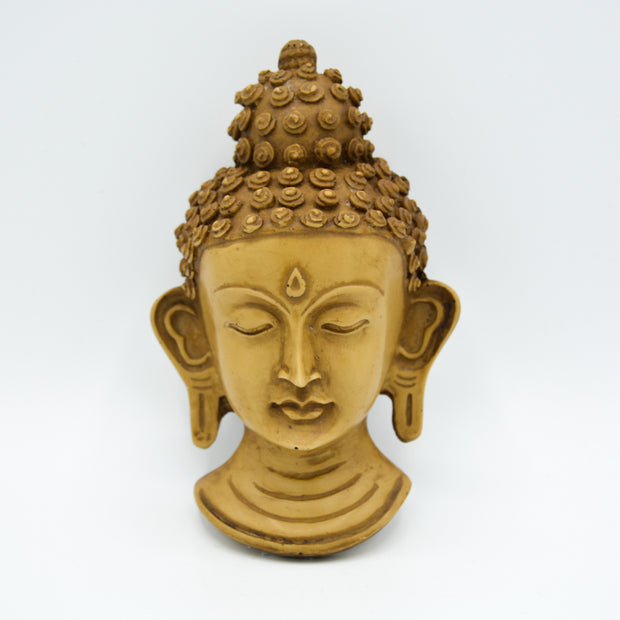 Buddha Mask - Small Green and Beige