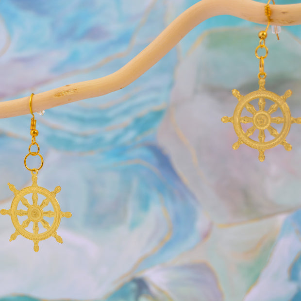 Buddhist Wheel Earrings
