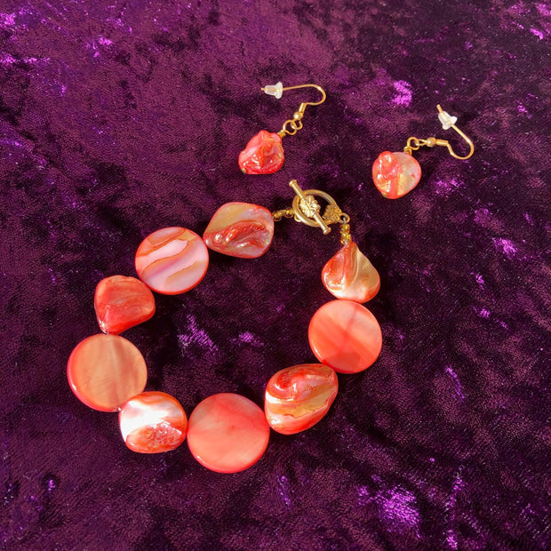 Coral Bracelet and Earring Set