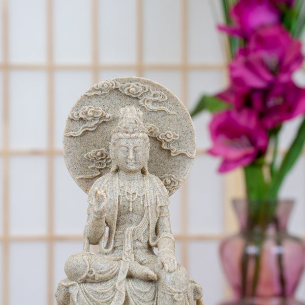 Kuan Yin Regal Pose Faux Sandstone