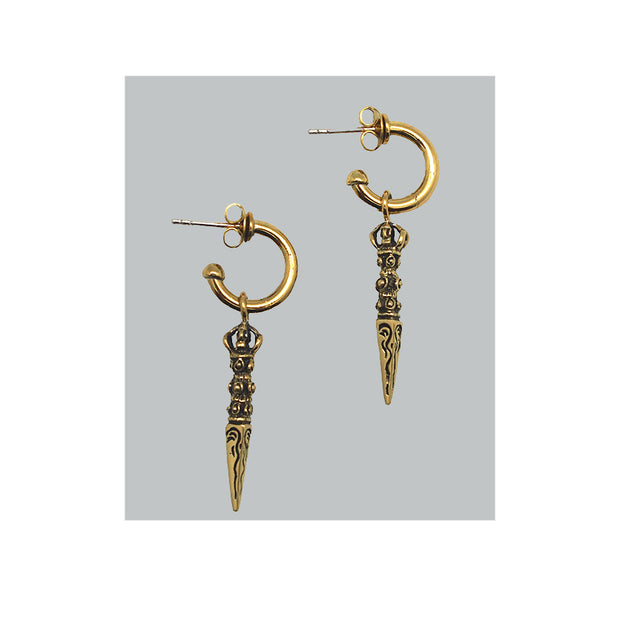 Brass phurba earring with 925 sterling posts.