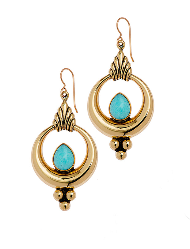 Brass Nepali Earring with Amazonite