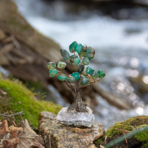 Green Agate Tree White Crystal