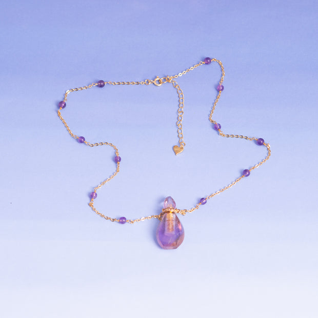Essential Oil Amethyst Pendant with gold chain and amethyst spheres