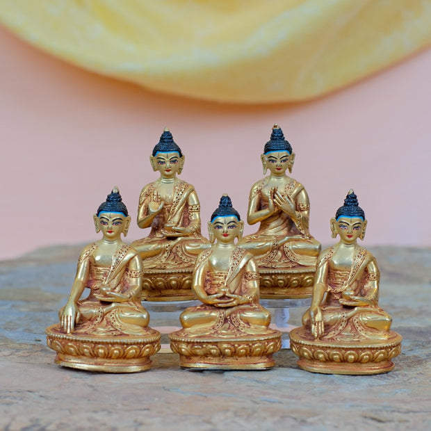 Five Dhyani Buddhas Fully Gilded Nepal Statues