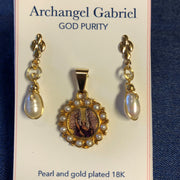Put on the Armour of Divine Purity with this Handmade Archangel Gabriel Pendant and Earring Set