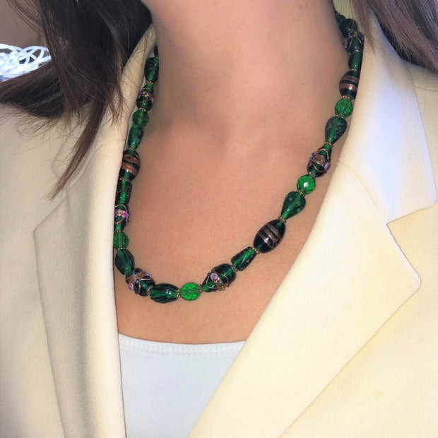 Playful Green Glass Necklace 20""