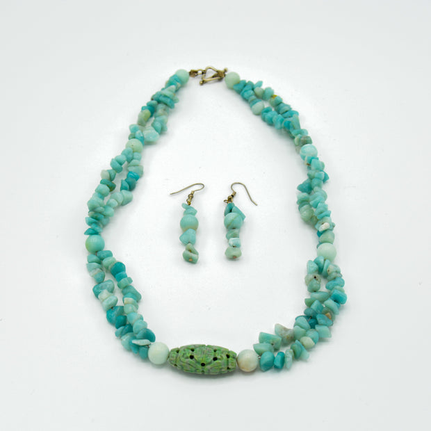 Playful Aquamarine Necklace and Earring Set