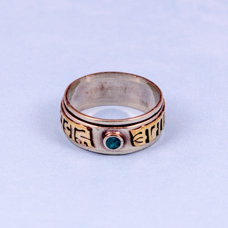 Mantra Prayer Ring, Brass Blue and Turquoise