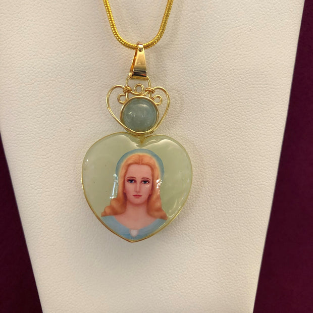 Immaculate Heart of Mary Pendant with Aquamarine & Serpentine Jade