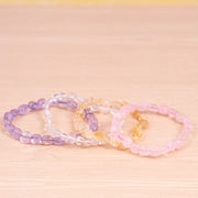 Amethyst, Pink Quartz Bracelets, Set of Four