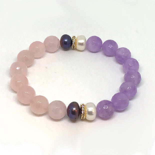 Lavender Amethyst, Rose Quartz, Pearls, Gold Plated spacers