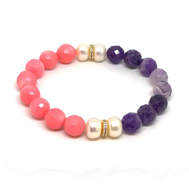 Harmony, Love and Elegance with this Coral, Amethyst, and Pearl Bracelet