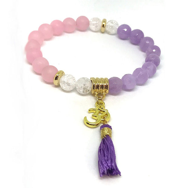 Say OM with Your Amethyst, Rose Quartz, Clear Quartz, Om Charm Bracelet