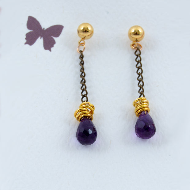 Amethyst Crystal Teardrop Earrings Devic Collection