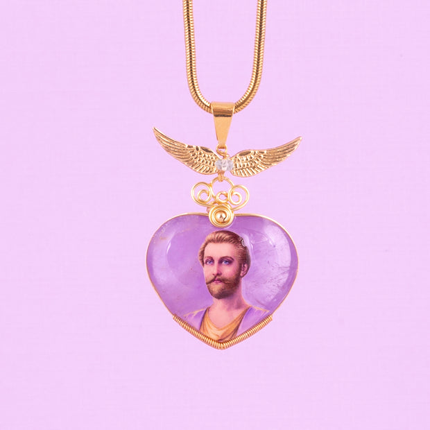 Saint Germain Amethyst Pendant w/wings