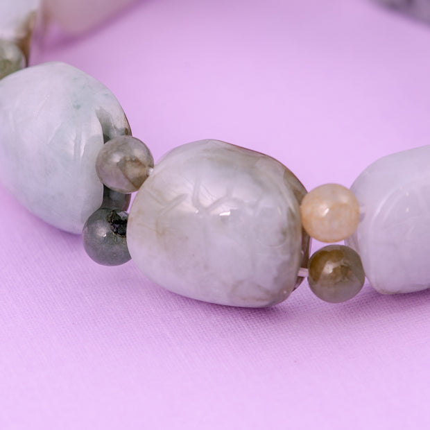 Pure Jade Bracelet with Turtle Etching